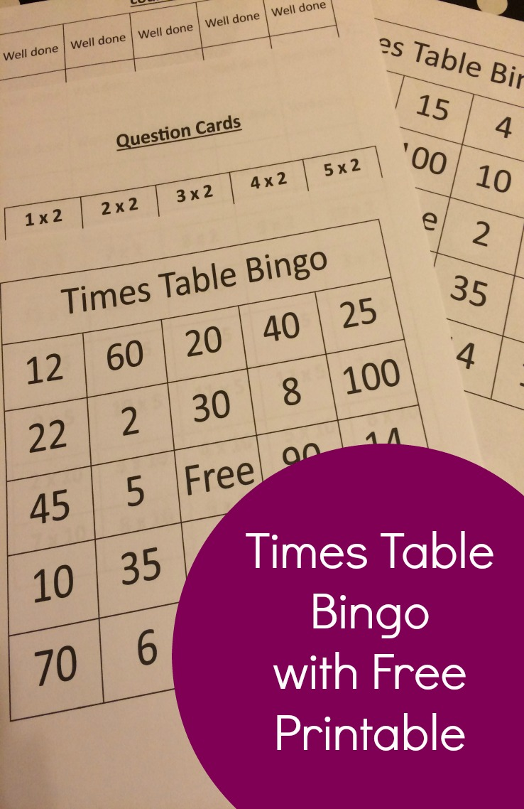 photo relating to Printable Maths Bingo known as Occasions Desk Bingo With Absolutely free Printable - The Everyday living Of Spicers