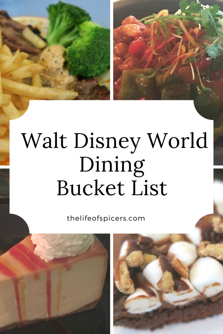walt Disney world dining plan bucket list