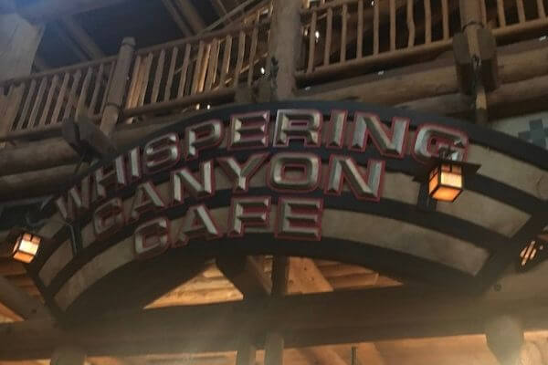 whispering canyon cafe sign