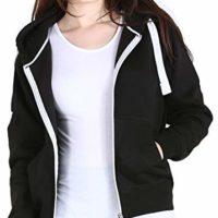 Womens Hoodies Plain Zip Up Hoody Top Ladies Fleece Hooded Sweatshirt Jacket S M L XL
